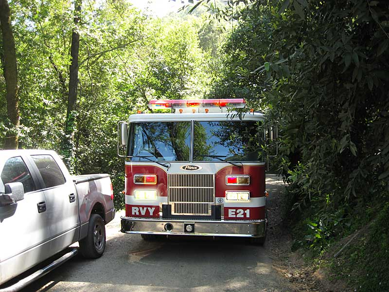 Roadway clearance is critical to save time for responding firefighters on the narrow streets of San Anselmo and Fairfax.